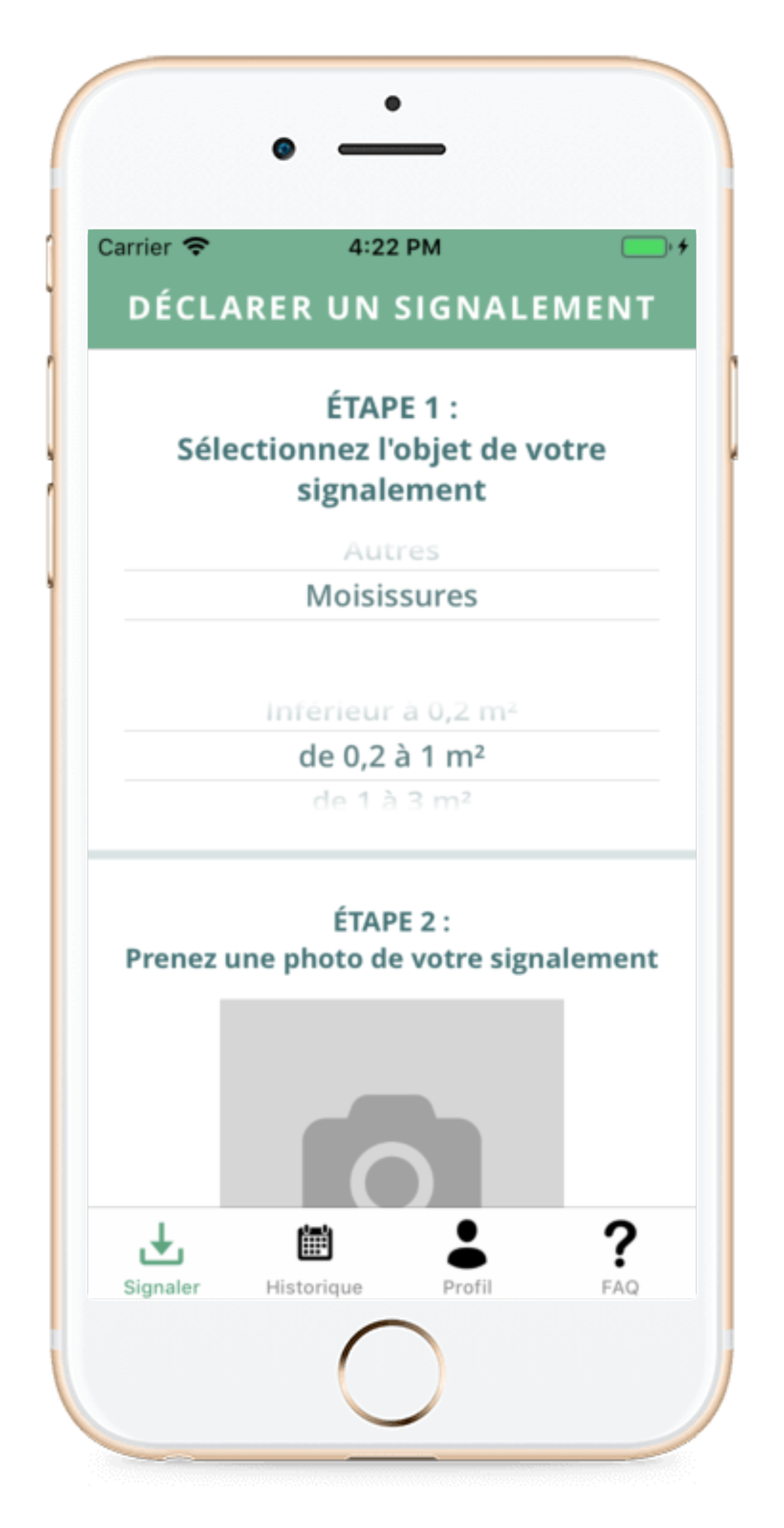 écran signalement de l'application Biodiv'Alert Patient