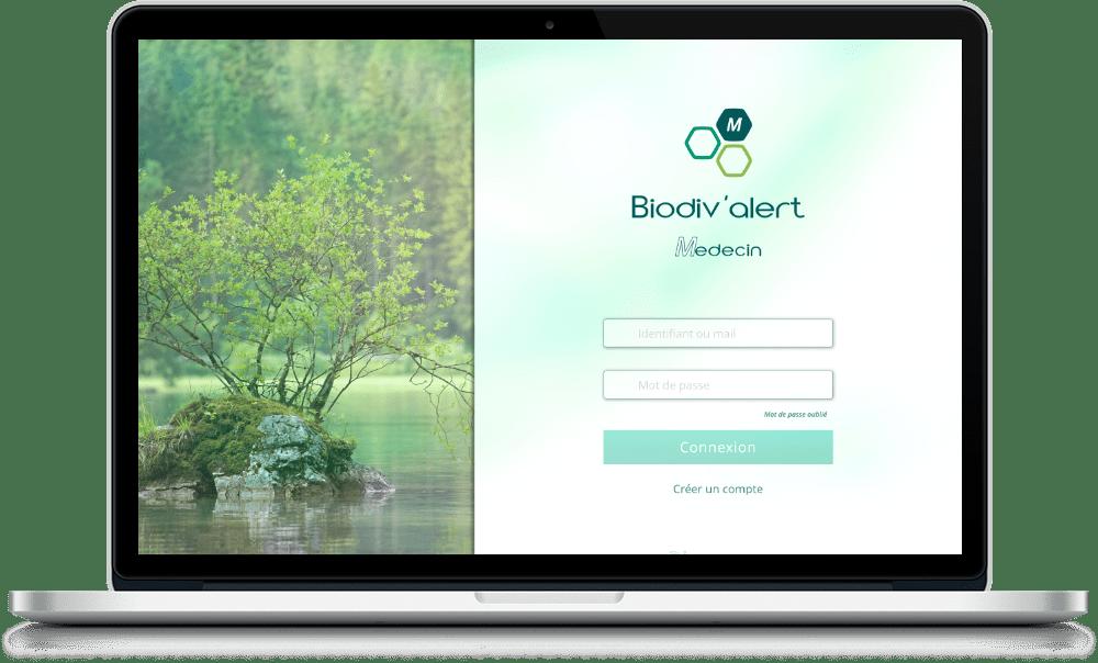 écran de connexion à l'application Biodiv'Alert Médecin